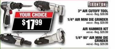 Northern Tool and Equipment Black Friday: Ironton Air Mini Die Grinder 1/4in. Collet, 3 CFM, 25,000 RPM for $17.99