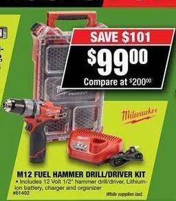 Northern Tool and Equipment Black Friday: Milwaukee M12 Fuel Hammer Drill/Driver Kit for $99.00