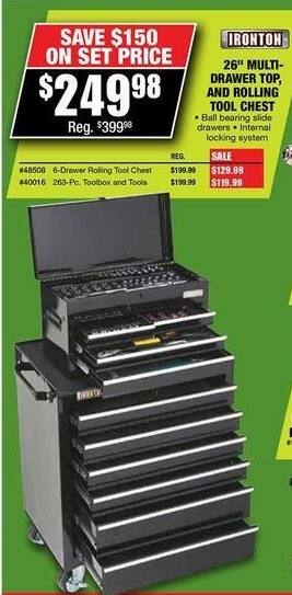 "Northern Tool and Equipment Black Friday: Ironton 26"" Multi-Drawer Top, & Rolling Tool Chest for $249.98"