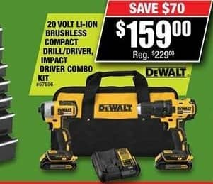 Northern Tool and Equipment Black Friday: DeWalt 20V Li-Ion Brushless Compact Drill/Driver Impact Driver Combo Kit for $159.00
