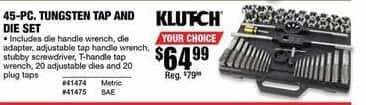 Northern Tool and Equipment Black Friday: Klutch Tungsten Tap & Die Set 45-pc for $64.99