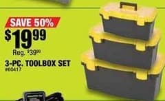 Northern Tool and Equipment Black Friday: Tool Box Set 3-pc for $19.99