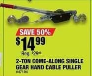 Northern Tool and Equipment Black Friday: 2-Ton Come-Along Single Gear Hand Cable Puller for $14.99