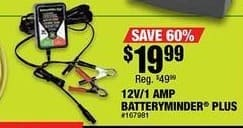 Northern Tool and Equipment Black Friday: 12V/1 AMP Batteryminder Plus for $19.99