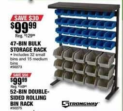 Northern Tool and Equipment Black Friday: 47-Bin Bulk Storage Rack for $99.99