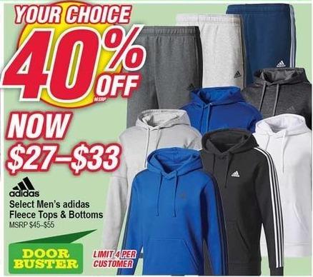 Modells Black Friday: Adidas Fleece Tops & Bottoms for Men & Women - 40% Off