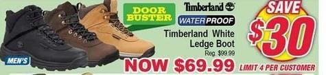 Modells Black Friday: Timberland Waterproof White Ledge Boot for $69.99
