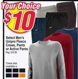 Modells Black Friday: Select Unipro Fleece Crews, Pants or Active Pants for Men for $10.00