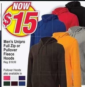 Modells Black Friday: Unipro Full Zip or Pullover Fleece Hoods for Men for $15.00