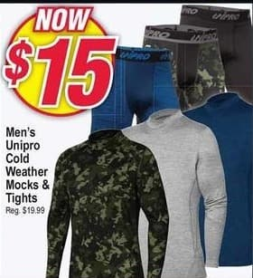 Modells Black Friday: Unipro Cold Weather Mocks & Tights for Men for $15.00