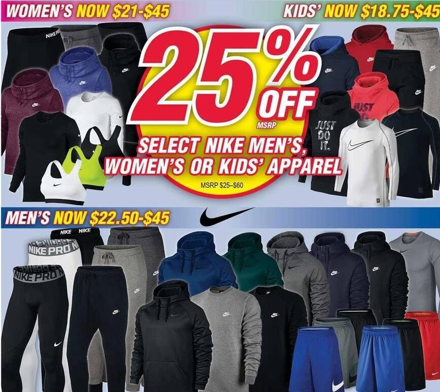 Modells Black Friday: Select Nike Apparel for the Family - 25% Off