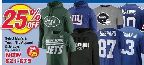 Modells Black Friday: Select Men's & Youth NFL Apparel & Jerseys - 25% Off