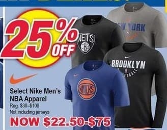 Modells Black Friday: Select Nike Men's NBA Apparel - 25% Off