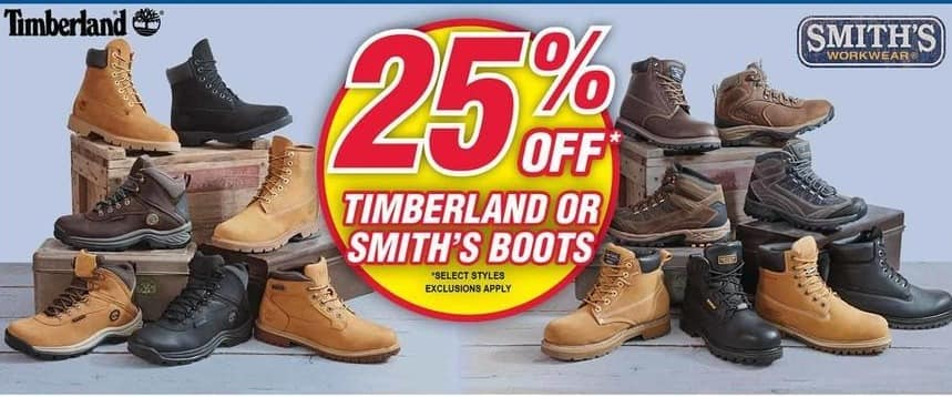 Modells Black Friday: Select Timberland or Smith's Boots - 25% Off