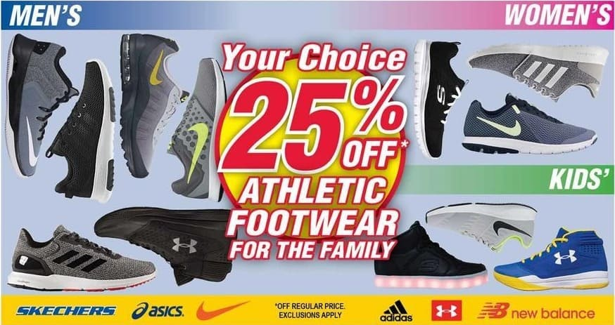Modells Black Friday: Skechers, Oasics, Nike, Adidas, Under Armour & New Balance Athletic Shoes for the Family - 25% Off