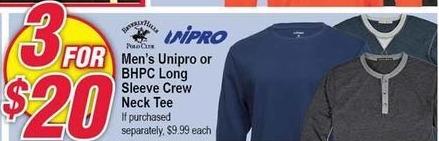 Modells Black Friday: (3) Unipro or BHPC Long Sleeve Crew Neck Tee for Men for $20.00