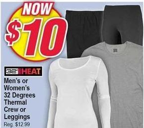 Modells Black Friday: 32 Degrees Thermal Crew or Leggings for Men & Women for $10.00