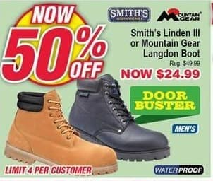 Modells Black Friday: Smith's Linden III or Mountain Gear Langdon Waterproof Boots for Men for $24.99