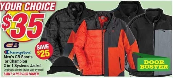Modells Black Friday: Champion or CB Sports 3-in-1 Systems Jacket for Men for $35.00