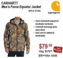 Sportsman's Warehouse Black Friday: Carhartt Men's Force Equator Jacket for $79.99