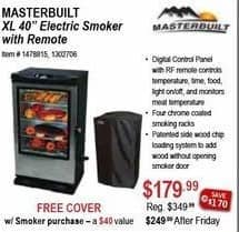 Sportsman's Warehouse Black Friday: Masterbuilt XL 40-in. Electric Smoker w/ Remote & Cover for $179.99