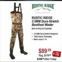 Sportsman's Warehouse Black Friday: Rustic Ridge 3.5MM Dura-Stretch Bootfoot Wader for $89.99
