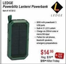 Sportsman's Warehouse Black Friday: Ledge Powerblitz Latern/Powerbank for $14.99
