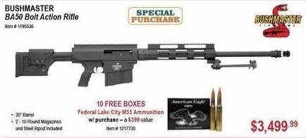 Sportsman's Warehouse Black Friday: BushMaster BA50 Bolt Action Rifle + 10 Boxes Of Federal Lake City M33 Ammunition for $3,499.99