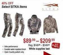 Sportsman's Warehouse Black Friday: Select Sitka Items - 40% Off