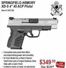 "Sportsman's Warehouse Black Friday: Springfield Armory XD-S 4"" 45 ACP Pistol for $349.99"