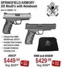 Sportsman's Warehouse Black Friday: Springfield Armory 9MM & 40S&W w/ Notebook for $429.99