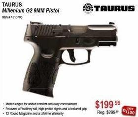 Sportsman's Warehouse Black Friday: Tarus Millenium G2 9MM Pistol for $199.99