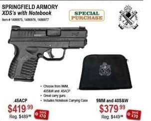Sportsman's Warehouse Black Friday: Springfield Armory XD's 9MM & 40S&W w/ Notebook for $379.99
