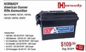 Sportsman's Warehouse Black Friday: Hornady American Gunner Rifle Ammunition for $109.99