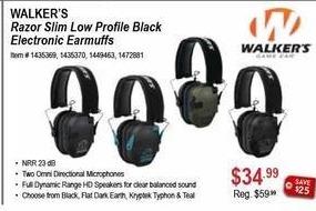 Sportsman's Warehouse Black Friday: Walkers Razor Slim Low profile Black Electronic Earmuffs for $34.99