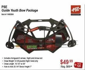Sportsman's Warehouse Black Friday: PSE Guide Youth Bow Package for $49.99