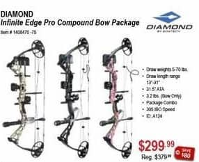 Sportsman's Warehouse Black Friday: Diamond Infinite Edge Pro Compound Bow Package for $299.99