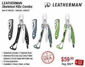 Sportsman's Warehouse Black Friday: Leatherman Skeletool KBx Combo for $59.99