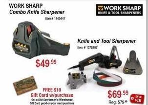 Sportsman's Warehouse Black Friday: Work Sharp Combo Knife Sharpener + $10 Gift Card for $49.99