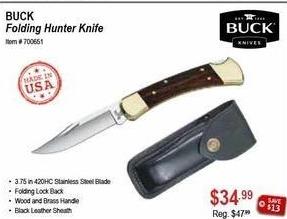 Sportsman's Warehouse Black Friday: Buck Folding Hunter Knife for $34.99