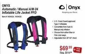 Sportsman's Warehouse Black Friday: Onyx Automatic/Manual A/M-24 Inflatable Life Jacket PFD for $69.99