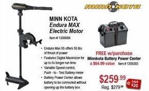 Sportsman's Warehouse Black Friday: Minnkota Endura MAX Electric Motor + Minnkota Battery Power Center for $259.99