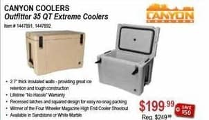 Sportsman's Warehouse Black Friday: Canyon Coolers Outfitter 35 QT Extreme Cooler for $199.99
