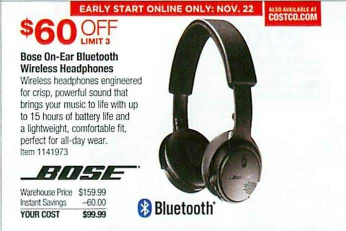 120d30ce09e Costco Wholesale Black Friday: Bose On-Ear Bluetooth Headphones - Triple  Black for $99.99