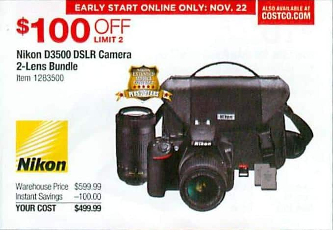 Costco Wholesale Black Friday Nikon D3500 Dslr Camera 2 Lens Bundle