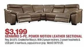 Macys Black Friday Gennaro 5 Pc Leather Power Reclining Sectional