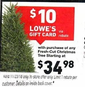 Lowe S Black Friday Fresh Cut Christmas Tree 10 Lowe S Gift Card
