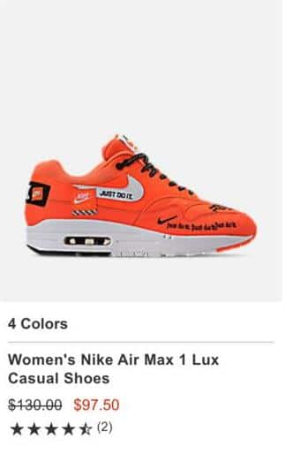 Finish Line Black Friday: Women's Nike Air Max 1 Lux Casual