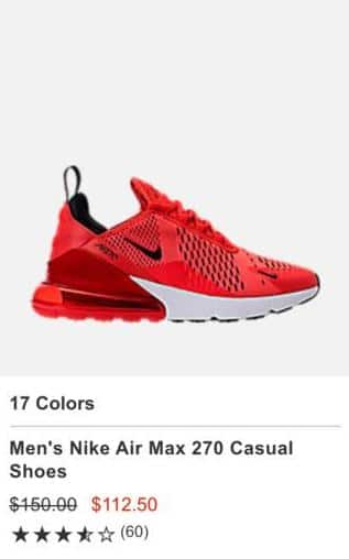 check out 26cfe cbb1b Finish Line Black Friday: Men's Nike Air Max 270 Casual ...