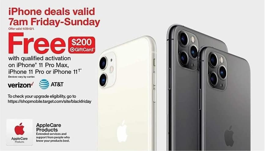 Target Black Friday: Qualified Activation on iPhone 11 Pro Max, iPhone 11 Pro or iPhone 11 - Free $200 gift card